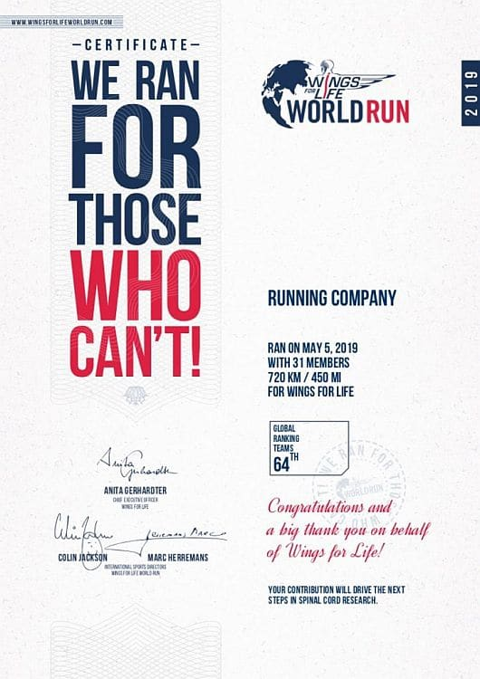 Urkunde RUNNING Company Team Wings for Life World Run 2019