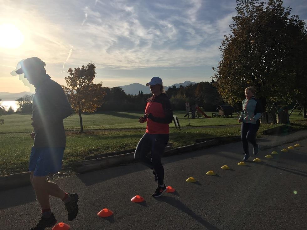 Laufreise am Chiemsee: Hütchentraining