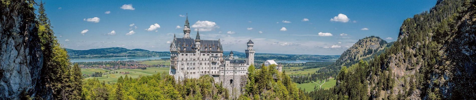 Blick auf Schloss Neuschwanstein im Hintergrund der Forggensee